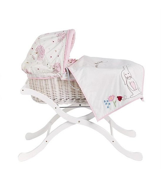 Pink Lining White Wicker Moses Basket: SAVE £23.01!