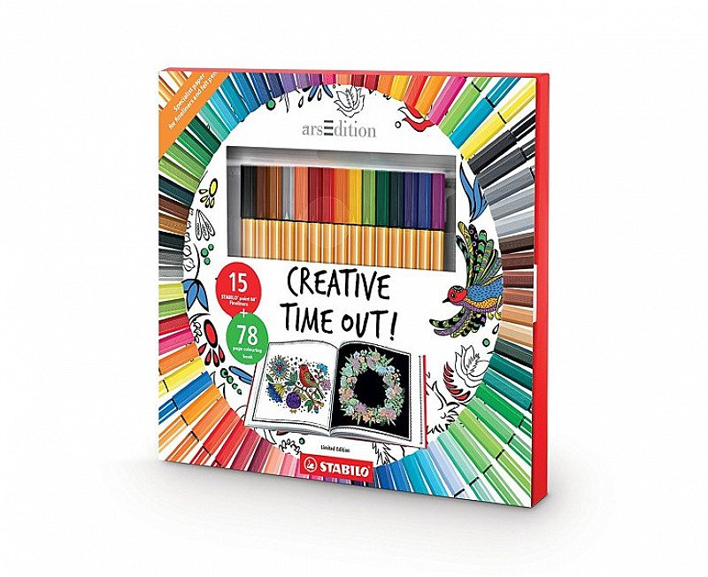 STABILO Creative Time out Colouring Book and Pens Set: SAVE £12.00!