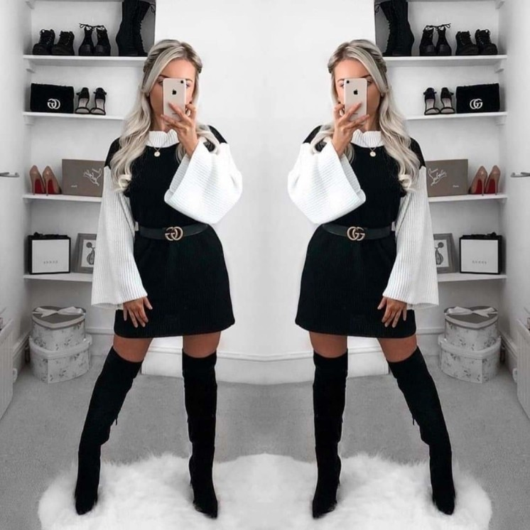 Bianca Knitted Jumper Dress (DF)