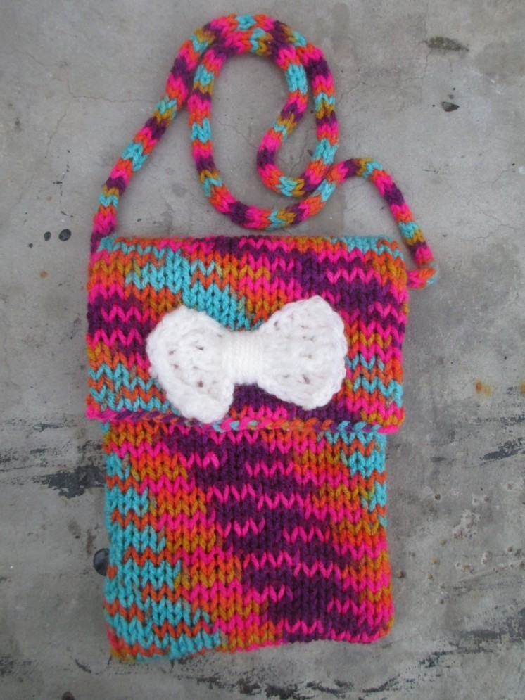 Hand knitted purse