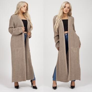 Kelsie Longline Knitted Cardigan  -Mocha (DF)